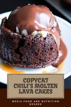 Don't you dare reveal to me that you've never had a Molten Lava Dessert at Chili's. A couple of years ba. Lava Cake Recipes, Dessert Recipes, Healthy Cake, Cupcakes, Cupcake Cakes, Chilis, Molten Chocolate, Recipe For Chocolate Molten Cake, Sweets
