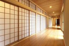 Tategu sliding closet door made of scrim fabric dual purpose projection surface