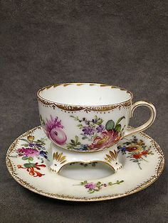 RARE Lovely Antique Dresden Trembleuse Cup and Saucer by Helena Wolfsohn Studios | eBay