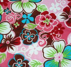 """Pretty Flowers Fabric  Five - 6""""  Cotton Fabric Block Quilt Charm  5 Pieces Pretty Flowers # 301-201 by AlwaysInStitchesCo on Etsy"""