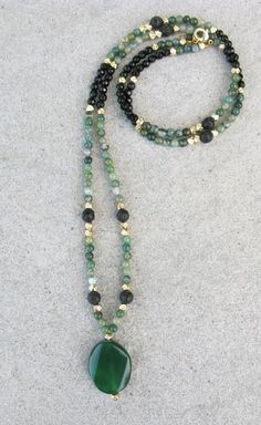 Long Elegant Green and Black Agate Beaded Necklace - Lava Necklace - Green Flat Twisted Agate Necklace - Gold Pendant Necklace