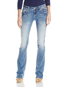 PRODUCT DETAILS : Relaxed boot cut denim jean with sequin multicolored back yoke designSunrise design with layered sequin accentsLogo hardware and whiskering throughout SPECIAL PRICE : $77.94