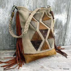 Geometric Leather Small Bucket Shoulder Bag with Fringe in