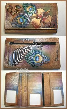 <a href=http://www.artfulsoul.com/store/infoanu1042pkf.html target=window2>Anuschka Peacock Flower Checkbook Wallet/Clutch</a>