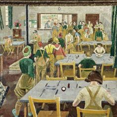 Women's Land Army Hostel by Evelyn Mary Dunbar Russell-Cotes Art Gallery & Museum Date painted: 1939 Oil on canvas, 22 x 22 cm Collection: Russell-Cotes Art Gallery & Museum