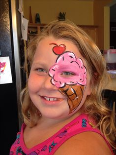 Pink Ice Cream Cone Face Paint By Meredith Terry