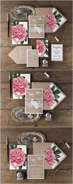Rustic bohemian spring wedding invitations #rustic #country @4LOVEPolkaDots