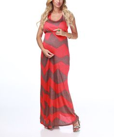 Take a look at this Red & Brown Chevron Maternity Maxi Dress by PinkBlush Maternity on #zulily today!