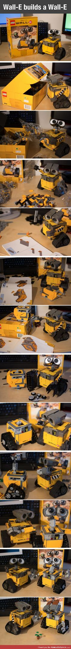 Wall-E builds a friend.this is the cutest thing I have ever seen! Disney And Dreamworks, Disney Pixar, Walt Disney, Wall E, Disney Love, Disney Magic, Humor Disney, Instruções Origami, Build A Wall