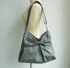 b141e8153b5f Sale - Grey Water-Resistant Bag, nylon, bow, tote, crossbody bag, messenger  bag, purse, shoulder bag
