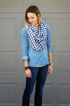 checked infinity scarf easy tutorial
