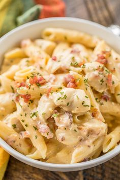 Instant Pot Crack Chicken Pasta - chicken pasta loaded with cheddar, bacon and ranch! Seriously delicious! 4 minutes of cook time. We ate this two days in a row. Chicken, ranch dressing mix, bacon, chicken broth, water, cream cheese, penne pasta and cheddar cheese. Everyone cleaned their plate! Even our picky eaters!! #chicken #InstantPot #pasta