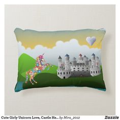 Shop Cute Girly Unicorn Love, Castle Heart Personalize Accent Pillow created by Personalize it with photos & text or purchase as is! Personalized Birthday Gifts, Personalized Pillows, Best Birthday Gifts, Custom Pillows, Decorative Pillows, Girl Nursery, Nursery Decor, Room Decor, Kids Pillows