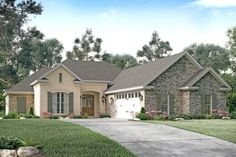 <!-- Generated by XStandard version 2.0.0.0 on 2015-06-23T09:43:47 --><ul><li>This gorgeous 3 bed, 2.5 bath French Country style house plan has a classic brick exterior and a beautiful roof with hips and gables.</li><li>Inside, you are greeted with a foyer that opens directly into an expansive great room that offers views directly into the kitchen, dining, and rear porch. This oversized great room has a fireplace and large windows giving you great natural light and a French door that leads…