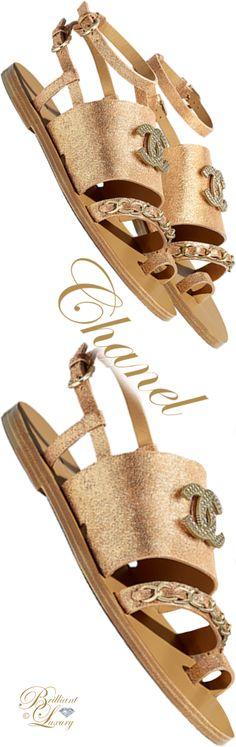 d8e58806415914 Brilliant Luxury ♢ Chanel gold lamé calfskin flat sandals Pretty Shoes