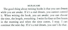 Haruki Murakami, on dream-writing.