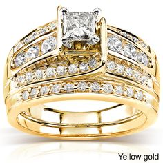 Annello Gold TDW Princess-cut Diamond Bridal Ring Set (H-I, - Overstock™ Shopping - Top Rated Annello Bridal Sets Antique Style Engagement Rings, Round Solitaire Engagement Ring, Platinum Engagement Rings, Best Engagement Rings, Engagement Ring Sizes, Diamond Bands, Diamond Wedding Bands, Bridal Rings, Wedding Rings