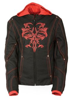 Womens 3/4 Length Leather Jacket Reflective Tribal Detail, Black / Red Size 5XL >>> To view further for this item, visit the image link.