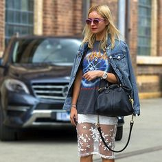 Mix it up in an 80's jean jacket, concert tee and a high end embroidered sheer overlay mini skirt.