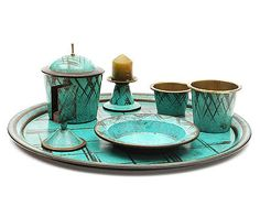 Brass Ikora smoking set with green patinated surface and abstract decoration executed by WMF / Germany Art Nouveau, Wmf, Pottery Designs, Bauhaus, Metals, Smoking, Glass Art, Surface, Germany