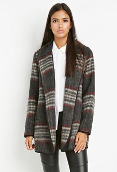 Contemporary Plaid Open-Front Coat | LOVE21 - 2000142934