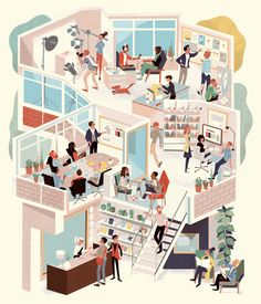 Illustration for Winkreative that appears in the February 2016 issue of Monocle magazine Más Illustration Agency, Creative Illustration, Graphic Design Illustration, Digital Illustration, Magazine Illustration, Isometric Art, Isometric Design, Isometric Sketch, Storyboard
