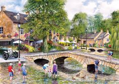 Gibsons - Bourton on the Water - Jigsaw Puzzle - 1000 Pieces Countryside Village, English Countryside, Norman Rockwell, Jigsaw Puzzels, Bourton On The Water, Castle Combe, English Village, Cartoon Art Styles, Tourist Spots
