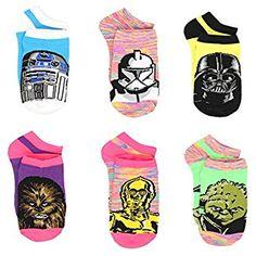 Star Wars Girls Womens 6 pack Socks (Little Kid/Big Kid/Teen/Adult): Clothing Star Wars Mädchen, Star Wars Girls, Star Girl, Disney Star Wars, Kids Socks, Women's Socks, Kids Fashion Boy, No Show Socks, Exercise For Kids