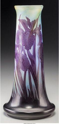 Galle Overlay Purple Glass Iris Vase Circa 1900,