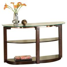 """Cherry-finished demilune console table with a beveled glass top and two open shelves.   Product: Console tableConstruction Material: Wood and glassColor: Cherry  Features:  Beveled glass topTwo open shelves  Dimensions: 29"""" H x 48"""" W x  18"""" D"""