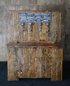 Reclaimed wood bar tap. I love this idea. Great way to use