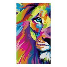Colorful Lion Print