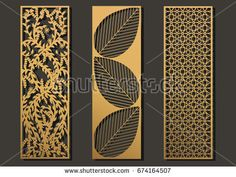 Laser cut template panels set. Die cut geometric pattern rectangle shape for metal , wooden, paper, engraving, stencil. Vector illustration design.