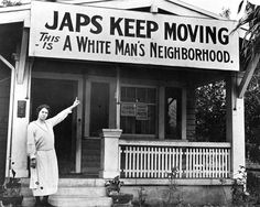 American Racism- Over US citizens were imprisoned during WWII for being of Japanese ancestry. As seen in this photograph, non-Japanese American citizens did not want the Japanese living among them. World History, World War Ii, Kings & Queens, Oki Doki, Mudkip, Japanese American, Asian American, Japanese Men, Interesting History