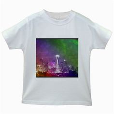 Seattle Space Needle Rainbow Kids' T-shirt (White)