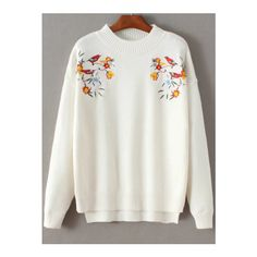 SheIn(sheinside) White Bird Embroidery Dip Hem Sweater (39 AUD) ❤ liked on Polyvore featuring tops, sweaters, white, sweater pullover, white sweater, white pullover sweater, long sleeve pullover sweater and vintage sweaters