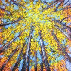 "SOLD - Tree Line 71 - Lothlorien.  I have always loved gazing up through the golden yellow birch trees in autumn.  30""x30"" acrylic textured glazes on cradled panel."