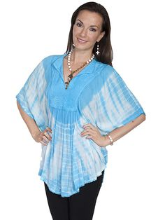 Scully Poncho Blouse Turquoise AT COWGIRL BLONDIE'S WESTERN BOUTIQUE