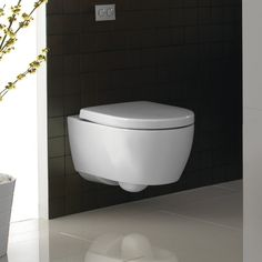 A wall-hung toilet! This is brilliant!
