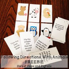 FREEBIE! Includes 48 following direction cards! Targets 1-step, 2-step, temporal (before/after), and conditional commands.