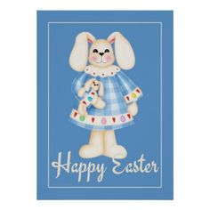 Easter Bunny Girl blue easter wall art