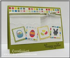 ISU! Spring Sampler and Delightful Dozen (sentiment) stamp sets; Sunshine & Sprinkles DSP; Lucky Limeade and Whisper White card stock; Melon Mambo, Marina Mist, Lucky Limeade, Basic Gray and Daffodil Delight markers - Connie Babbert