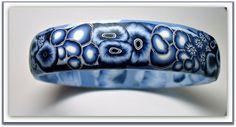 Polymer Clay Bracelet, via Flickr. 2009  Denim Blues Bangle bracelet