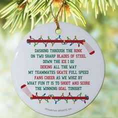 Jingle all the way through the holidays with a porcelain hockey ornament! This ornament makes for a great Christmas decoration and gift for hockey players. Rink Hockey, Hockey Tournaments, Hockey Party, Hockey Teams, Hockey Players, Caps Hockey, Hockey Crafts, Hockey Decor, Hockey Girls