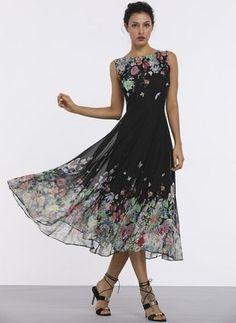 Floral Boat Neckline Sleeveless Midi A-line Dress