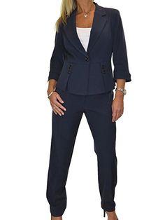 ICE Damen Anzug mit Hose - für Büro oder Geschäft - waschbar Navy Blau -  business kleidung damen business outfit frauen business casual frauen Mode  Frauen ...