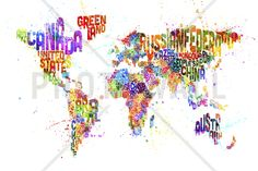 Typographic Text World Map Paint Splash - Fototapeter & Tapeter - Photowall