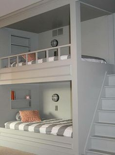 simple built in kids bunk bed idea, with stairs