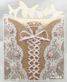 Romantic Corset Valentine Card with Cutting File and Manual Template | Cards | Paper Crafting Projects | Tara's Craft Studio