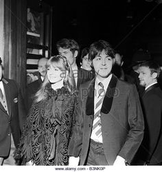 Paul McCartney lead singer with The Beatles at film Premiere of Round The Mulberry Bush with girlfriend Jane Asher January 1968 - Stock Image